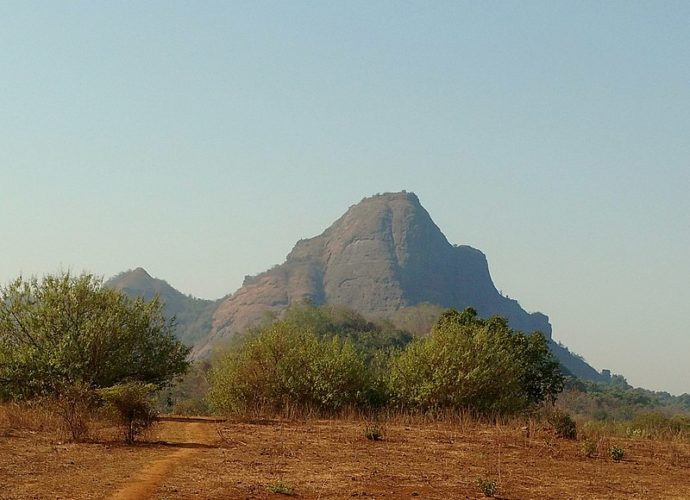 Manikgad fort trek as seen from the base village