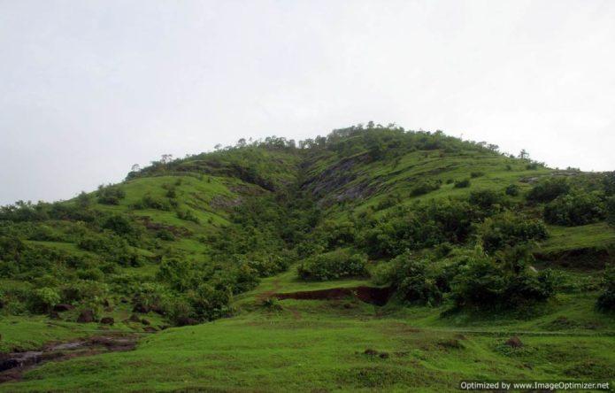 Panhaledurg fort trek as seen from the base village