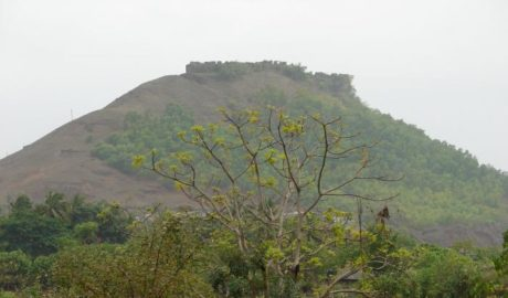 Samrajgad fort trek as seen from the base village