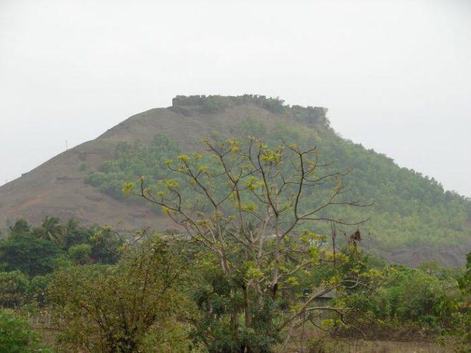 Samrajgad fort trek as seen from the base village